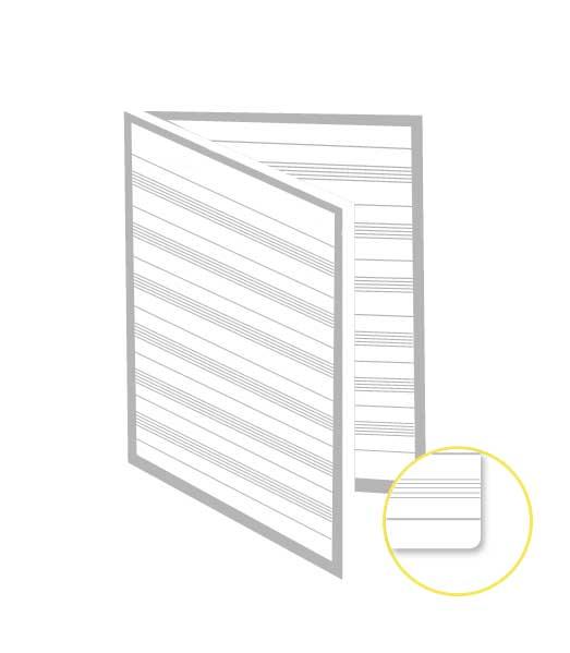 Skladaný dvojhárok • 200 listov • notová osnova