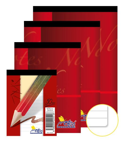 Poznámkový blok • 50 listový • linkovaný 8 mm • NOTES
